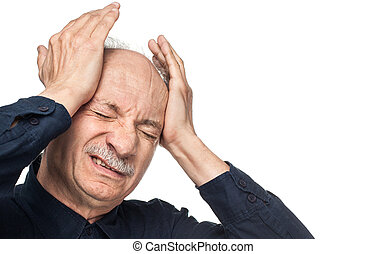 Elderly man - Pain. Elderly man suffering from a headache...