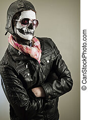 Aviator Skull - Confident aviator with face painted as human...