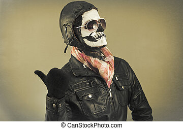 Aviator Skull - Blaming aviator with face painted as human...