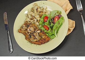 Wiener Schnitzel - Wiener schnitzel with sauteed mushrooms...