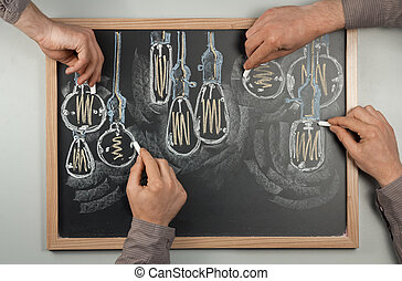 Lightbulb Chalkboard - Variety of antique edison style...