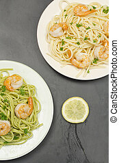 Shrimp Scampi - Shrimp scampi with linguine lemon and...
