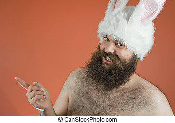 Tattling Bunny Man - Tattling bearded fat man wears silly...