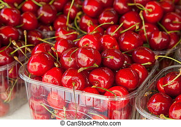 Display of cherries ready to eat at a market. - Colorful...