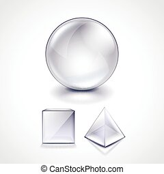 Glass sphere, cube and pyramid vector illustration