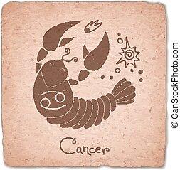 Cancer zodiac sign horoscope vintage card. Vector...