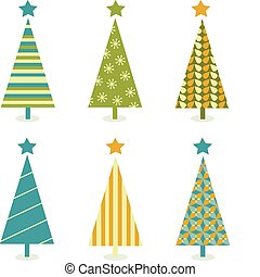 Funky retro christmas tree design - In six shape variants...