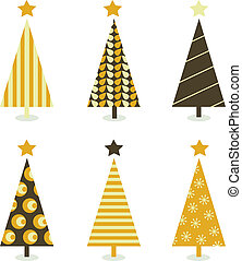 Retro christmas tree isolated on white - Six retro christmas...