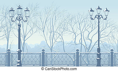 Horizontal illustration of snowy park in blue tone -...
