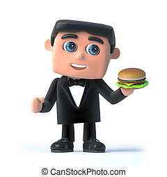 3d Bow tie spy has a burger - 3d render of a man in a tuxedo...