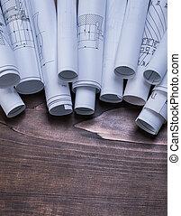 Conjunto, de, cianotipo, Rollos, en, pino, de madera,...