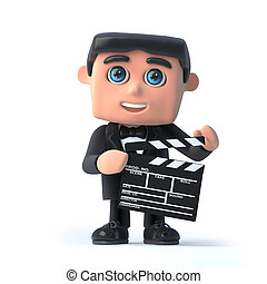3d Bow tie spy makes a movie - 3d render of a man in a...