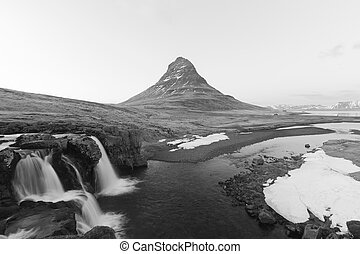 Mount Kirkjufell B and W - Mount Kirkjufell in Black and...