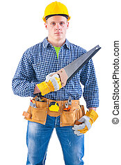 young carpenter with some tools isolated on white background