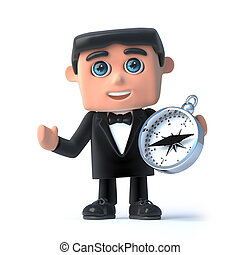 3d Bow tie spy using a compass - 3d render of a man wearing...