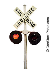 Rail Road Signal - A rail road signal with one red light on...