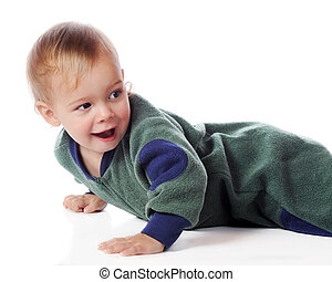 Catch Me, If You Can - A happy toddler in pajamas, looking...