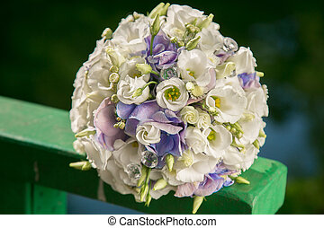 bridal bouquet - Wedding bridal bouquet with gentle blue and...