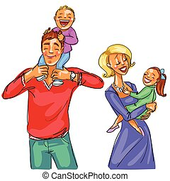 Happy family - Family memebers all togehher isolated on...