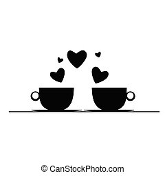 coffee with hearts black vector silhouette