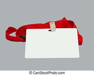 Badge - Blank badge on red strap against grey background...