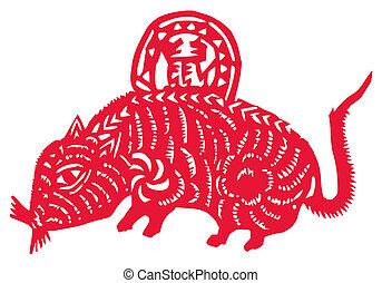chino, zodíaco, rata