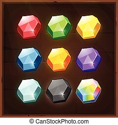Set of Colorful Gems. Vector GUI elements for mobile games