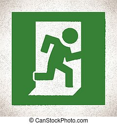 Green Emergency Exit Sign with running human figure. Vector...