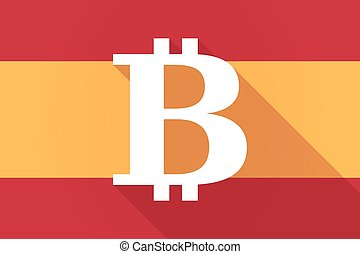 Spain long shadow flag with a bit coin sign - Illustration...