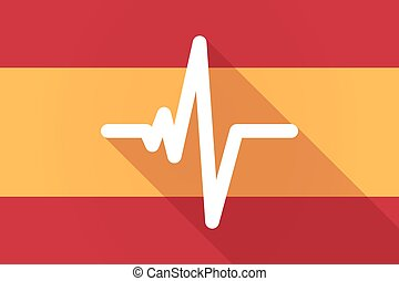 Spain long shadow flag with a heart beat sign - Illustration...