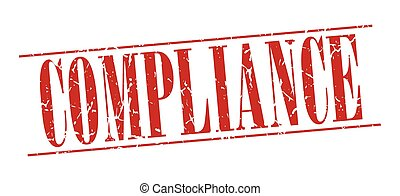 compliance red grunge vintage stamp isolated on white...
