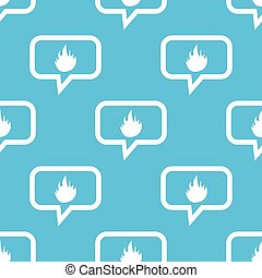 Fire message pattern - Image of flame in chat bubble,...