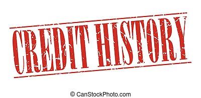 credit history red grunge vintage stamp isolated on white background