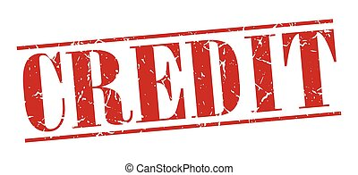credit red grunge vintage stamp isolated on white background