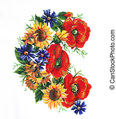 Ukrainian embroidery Embroidery beads Pattern of flowers