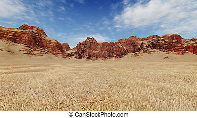 Red rocks among barren lands - Striped canyon rocks among...