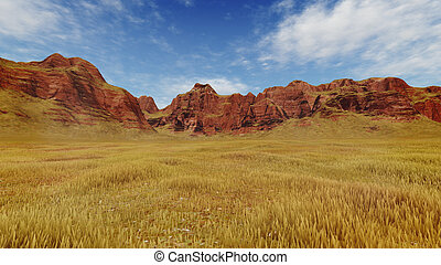 Red canyon rocks at daytime - Abstract rocky canyon covered...