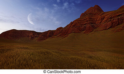 Red rocks under half moon - Canyon rocks and dry grass under...