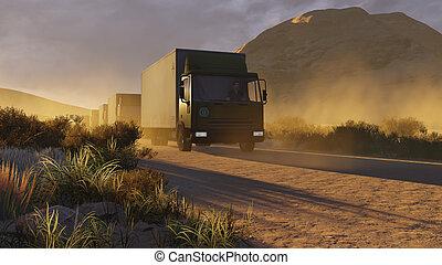 Military trucks on a desert road 1