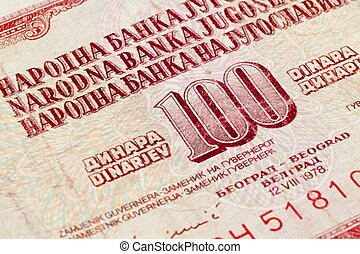 Yugoslavia - Detail of old money of old republic of...