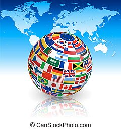 Flag globe with world map - A 3d globe with shadows and...