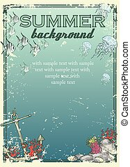 Summer beach background with sample text Banner