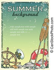 Summer beach background with sample text. Banner