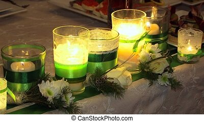 Festive Decoration - Festive table decorated with candles