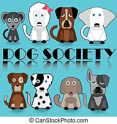 Dog - Icons and Collection of Cute Cartoon Dogs on blue...