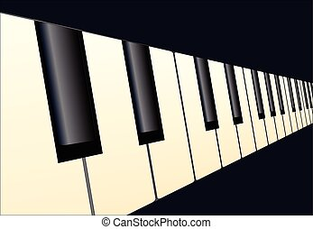 Piano Keys Perspective - Black and white piano keys with a...