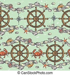 Nautical background, Marine pattern - Nautical background,...