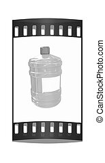 Bottle with clean blue water The film strip - Bottle with..
