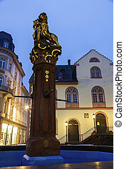 Fountain and old Rathaus Wiesbaden, Hesse, Germany