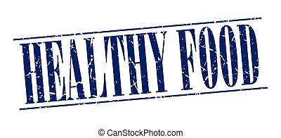 healthy food blue grunge vintage stamp isolated on white background